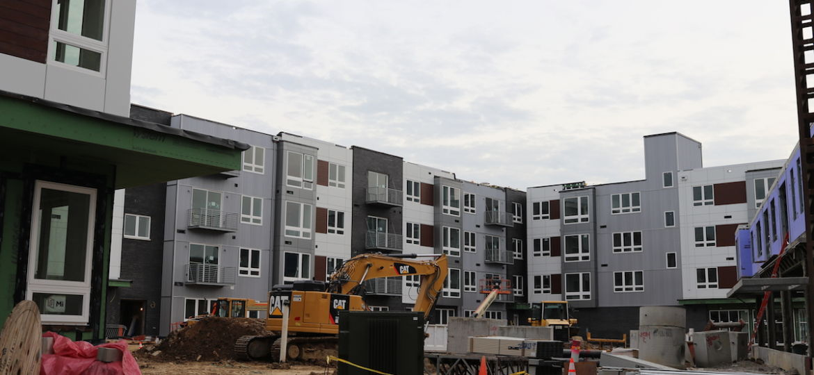 Exterior of Dwell 2nd Street apartments being constructed in Olde Kensington