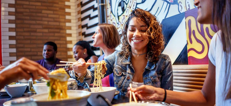 Group of people eating at Cheu in Fishtown, Philadelphia